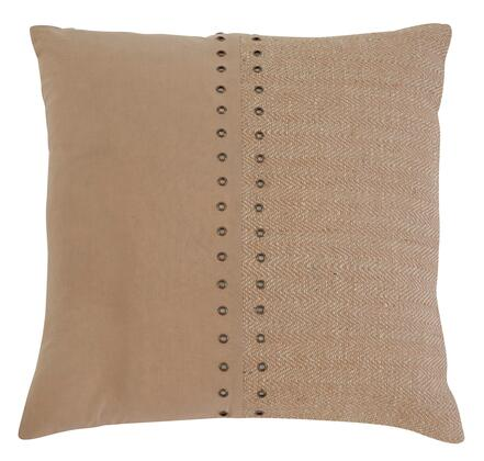 "Signature Design by Ashley Textured A1000318X 18"" x 18"" Pillow with Fiber Filling, Jute Cover and Button-Up Look in Natural"