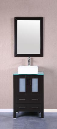 Bosconi Bosconi AB124CBECWGX Vanity Set with Tempered Glass Top, White Square Ceramic Vessel Sink , Faucet and Vertically Mounted Vanity Mirror in Espresso
