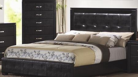 Coaster Dylan Collection Panel Bed with Faux Leather Upholstery, Low Profile, High Headboard, Selected Hardwoods and Veneers Construction in Black Finish