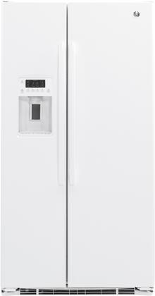 """GE GZS22D 36"""" Freestanding Counter-Depth Side-by-Side Refrigerator with 21.9 cu. ft. Total Capacity, External Water and Ice Dispenser, 3 Spillproof Glass Refrigerator Shelves, and Door Alarm, in"""