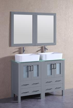 """Bosconi AGR224RCCWGX XX"""" Double Vanity with Clear Tempered Glass Top, Rectangle White Ceramic Vessel Sink, F-S02 Faucet, Mirror, 4 Doors and X Drawers in Grey"""