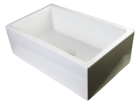 "Alfi AB3018SB 30"" Smooth Apron Thick Wall Single Bowl Farm Sink with Fireclay, Standard 3 1/2"" Center Drain and Non-Reversible in"