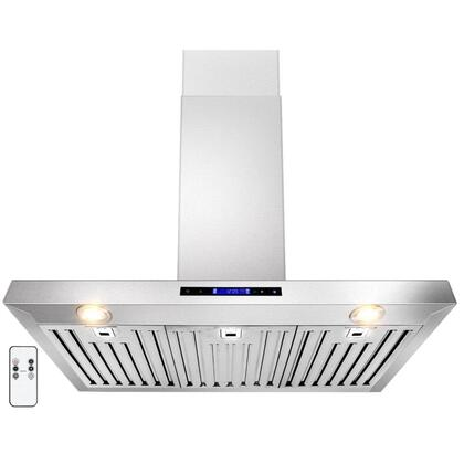"Golden Vantage GWRZ136 36"" Wall Mounted Range Hood with 760 CFM, 65 dB, Innovative Touch, Halogen Lighting, 3 Fan Speed, Stainless Steel Baffle Filter, Remote Control and X: Stainless Steel"
