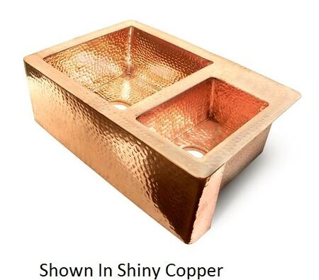 D'Vontz KS103322 60/40 Double Bowl Copper Farmhouse Kitchen Sink With 77% Recycled Copper, 99% Pure Copper & In