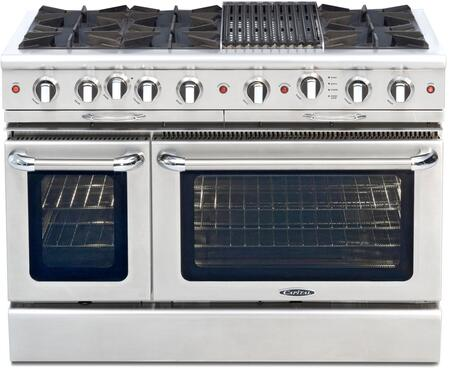 "Capital CGSR484B2N 48"" Culinarian Series Gas Freestanding Range with Open Burner Cooktop, 4.6 cu. ft. Primary Oven Capacity, in Stainless Steel"