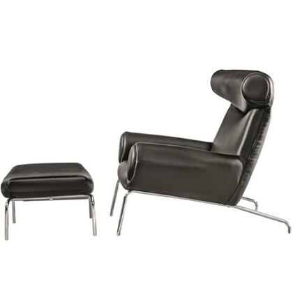 Fine Mod Imports FMI1212BLACK Lounge Italian Leather Stainless Steel Frame Accent Chair