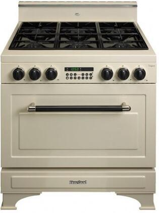 Heartland 363001NG  Dual Fuel Freestanding Range with Sealed Burner Cooktop, 5.9 cu. ft. Primary Oven Capacity, in Almond