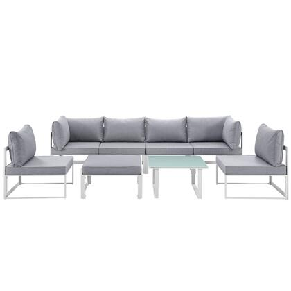 Modway Fortuna Collection EEI-1728- 8-Piece Outdoor Patio Sectional Sofa Set with 2 Corner Sections, 4 Center Sections, Ottoman and Side Table in