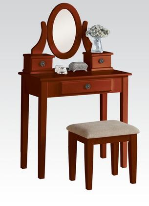 Acme Furniture 9014 Jayle Vanity Set with 3 Drawers, Cushioned Stool, Mirror, Tapered Legs and Wooden Frame in
