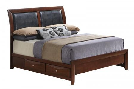 Glory Furniture Storage Bed with 4 Drawers, Metal Hardware, Beveled Drawer Fronts, Dovetailed Drawers and Wood Veneer Construction in Cappuccino Finish