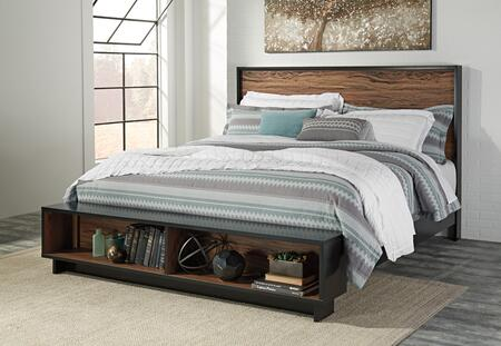 Signature Design by Ashley Stavani Collection B457-STORAGEBED Storage Bed with Bench Footboard, 2 Open Storage Compartments, Clean Line Design and Two-Tone Finish in Black and Brown