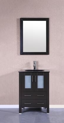 Bosconi Bosconi Single Vanity with Integrated Sink, F-S01 Faucet, Brushed Nickel Finished Hardware, Vertically Mounted Mirror,  Drawers and  Doors in Espresso