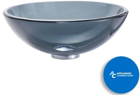 "Kraus CGV1041412MM1005 Singletone Series 14"" Round Vessel Sink with 12-mm Tempered Glass Construction, Easy-to-Clean Polished Surface, and Included Riviera Faucet, Clear Black Glass"