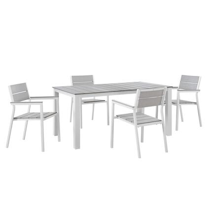 Modway Maine Collection 5 PC Outdoor Patio Dining Set with Solid Plywood Slats Top, Natural Wood Grain Design, Powder Coated Aluminum Frame and Plastic Base Glides in