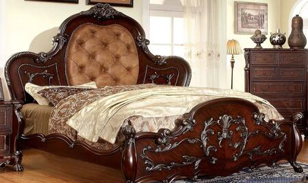 Furniture of America Castlewood CM7299X Bed with Traditional Style, Platform Bed intricate Wooden Carvings and Padded Leatherette Headboard in Cherry