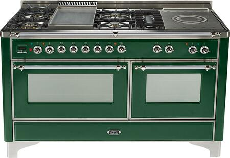 Ilve UMT150FSMPVS Majestic Techno Series Dual Fuel Freestanding Range with Sealed Burner Cooktop, 3.55 cu. ft. Primary Oven Capacity, Warming in Emerald Green
