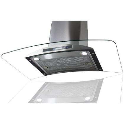 "AKDY AWRKN36 36"" Wall Mount Range Hood with 760 CFM, 65 dB, Centrifugal Motor, Innovative Touch, 2W LED Lighting, 3 Fan Speed, Aluminum Grease Filter and X: Stainless Steel"