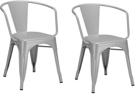 "EdgeMod Trattoria Collection 28.5"" Set of 2 Arm Chairs with Non-Marking Feet Caps, Stackable, Electroplated Metal and Powder Coated Iron in"