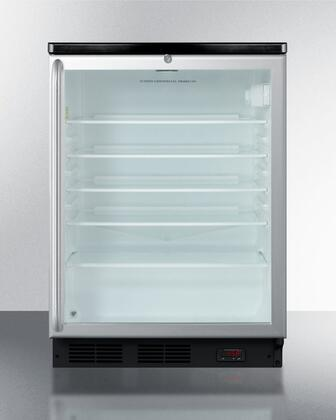 """Summit SCR600BLPUBSHx 24"""" Wine Cooler with 5.5 cu. ft. Capacity, Commercially Approved, Digital Thermostat, Glass Door, Professional Stainless Steel Handle, Automatic Defrost, Interior Liner, CFC Free, Adjustable Glass Shelves and Door Lock, in Stainless St"""