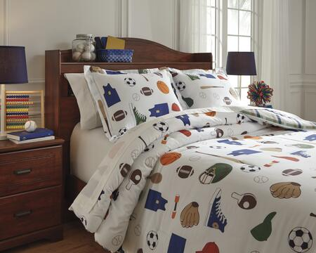 Signature Design by Ashley Varias Q77200 PC Size Comforter Set includes 1 Comforter and Standard Sham with Sports Theme Design, 200 Thread Count and Cotton Material in Multi Color
