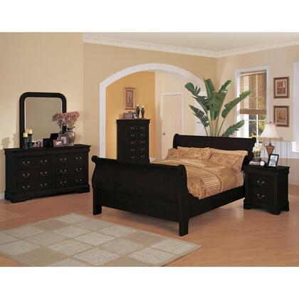 Yuan Tai 6702-BK Louis Philippe Sleigh Bed In Black Finish