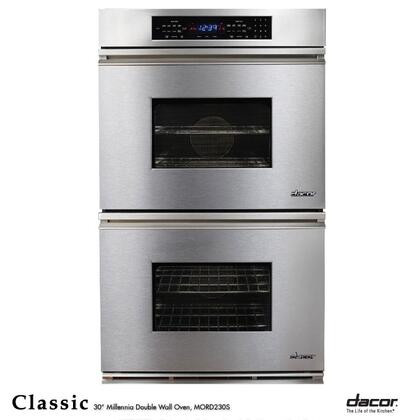 """Dacor Classic MORS230 30"""" Double Electric Wall Oven with 3.9 cu. ft. Convection Upper Oven, 6 Cooking Mode, RapidHeat Bake Element, Meat Probe, Proofing and Electronic Touch:"""