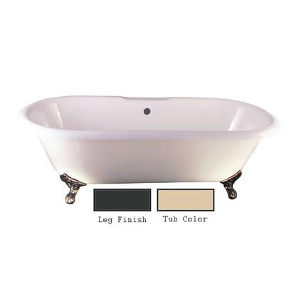 "Barclay CTDRN Duet 67"" Cast Iron Double Roll Top Tub with Base and Non-Skid Strips, in"