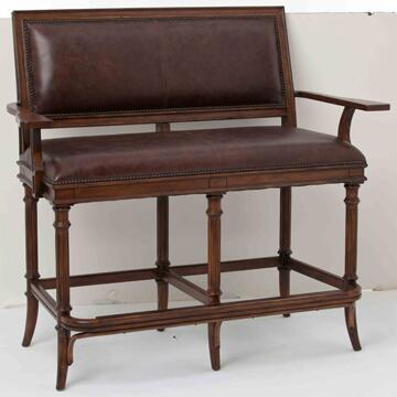 Ambella 20078550001 Churchill Series Kitchen  Wood Leather Bench