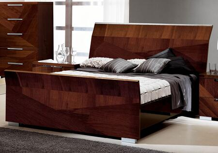 ESF Capri Collection Sleigh Bed with Polished Metal Legs, Made in Italy and High Gloss Veneers in Walnut Finish