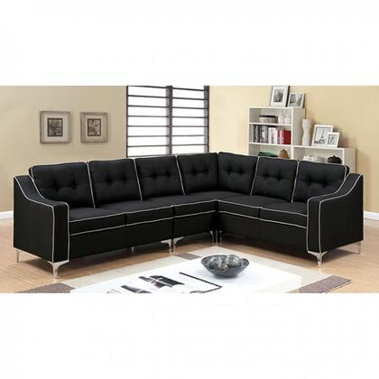 """Furniture of America Glenda II Collection CM6851XX-SECTIONAL 106"""" 4-Piece Sectional with Left Arm Facing Loveseat, Corner Wedge, Right Arm Facing Loveseat and Moveable Single Chair in"""