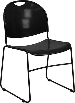 Flash Furniture HERCULES Series RUT-188-XX-GG 880 lb Capacity High Density Ultra Compact Stack Chair with Black Frame, Plastic Floor Glides, and Stacks up to 35 Chairs High