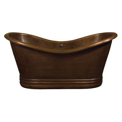 """Barclay COTDSN72P X 72"""" Copper Double Slipper Tub with Base, Double Slipper, and Hand Polished, in"""