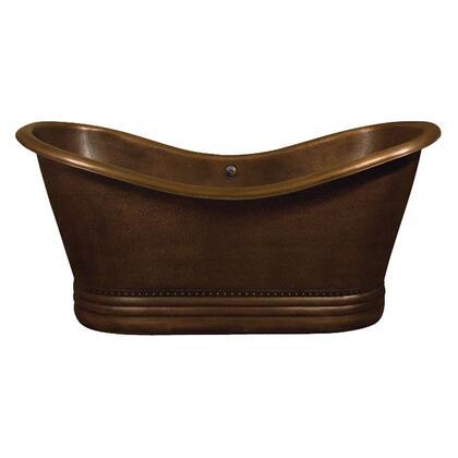 "72"" Copper Double Slipper Tub w/ Base"