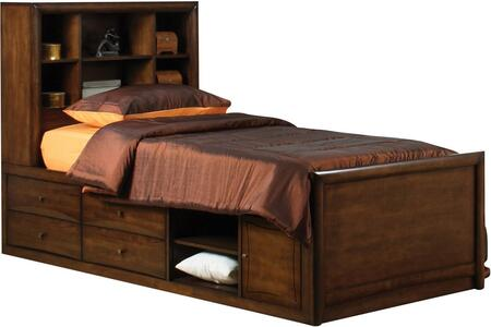 Coaster Scottsdale Collection Bookcase Captain's Bed with Open Shelves, Underbed Storage, Nickel Knobs, Solid Maple Wood and Veneer Materials in Warm Brown Finish