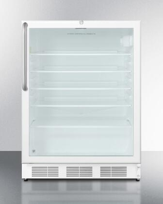 "Summit SCR600LCSX 24"" Commercially Approved Compact Refrigerator with 5.5 cu. ft. Capacity, Dor Lock, Glass Shelves and Door and Interior Light, in White"