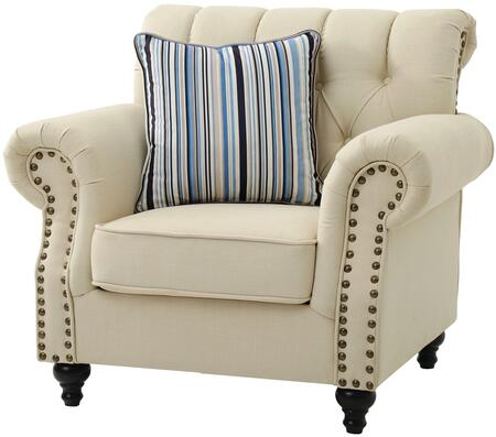 Glory Furniture G523C Faux Leather Armchair with Wood Frame in Cream