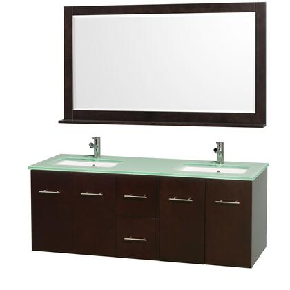 "Wyndham Collection WCV00960X 60"" Double Wall Mount Vanity with Square Undermount Porcelain Sinks, 2 Drawers, 4 Doors, and Includes Matching Mirror in"