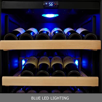 "KingsBottle KBU- 24"" 1 Temperature Zone Wine Cooler with x Bottle, Warp Resistant Beech Wood Shelves and Door Lock: Glass Door in Black"