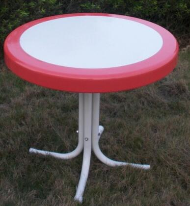 """4D Concepts Retro Collection 71X20 22"""" Round Table with Circular Metal 2-Tone Top and Shaped Legs in"""
