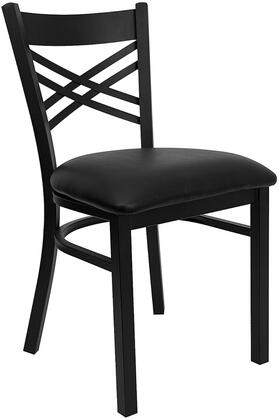 "Flash Furniture HERCULES Series XU-6FOBXBK-BLKV-GG 19.5"" Black ""X"" Back Metal Restaurant Chair with Commercial Design, 18 Gauge Steel Frame, and Plastic Floor Glides"
