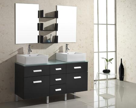 """Virtu USA Maybell UM-3063- 56"""" Double Sink Bathroom Vanity with Matching Mirrors, PS-103 Faucets, 3 Mirror Shelves and Brushed Nickel Hardware"""