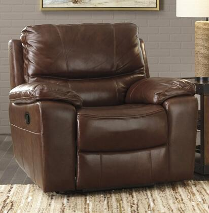 """Signature Design by Ashley U7290058 Penache 43"""" Rocker Recliner with Split Back Cushion, Piped Stitching, Metal Frame and Leather Upholstery in Saddle Color"""