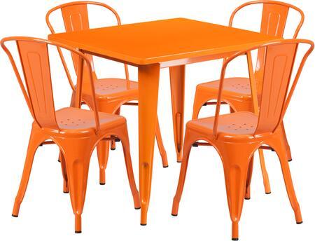 Flash Furniture ETCT002430ORGG Square Shape Patio Sets