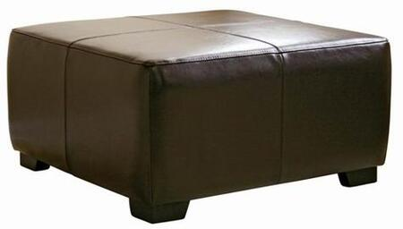 Wholesale Interiors Y052001DARKBROWN Bree Series Contemporary Leather Ottoman