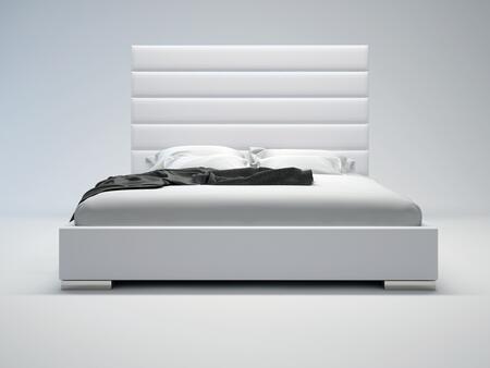 Modloft MD319QWHT Prince Series  Queen Size Platform Bed