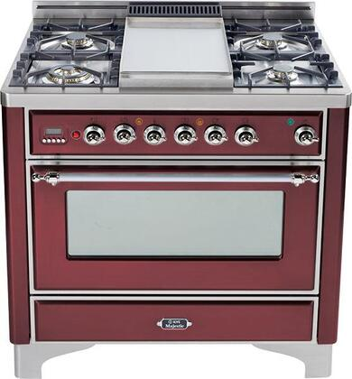 Ilve UMT906VGGRB Majestic Techno Series Gas Freestanding Range with Sealed Burner Cooktop, 3.55 cu. ft. Primary Oven Capacity, Warming in Burgundy Red