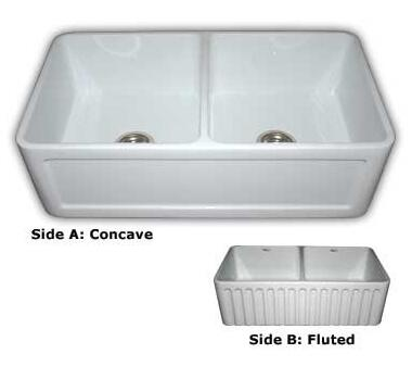 """Whitehaus WHFLCON3318 33"""" Double Bowl Fluted / Dental Reversible Fireclay Farmhouse Kitchen Sink in"""