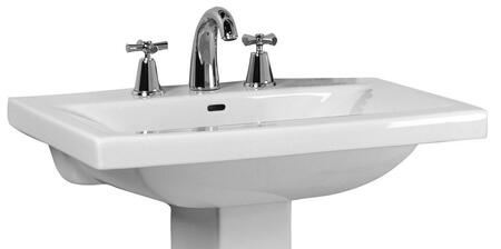 """Barclay B/3-27WH Mistral 650 Basin Only, with Pre-drilled Faucet Holes, Overflow, 5"""" Basin Depth, and Vitreous China Construction, in White"""