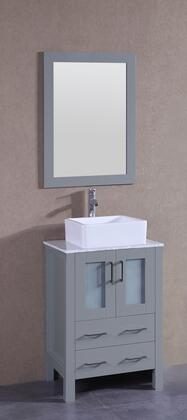 "Bosconi AGR124CBECMX XX"" Single Vanity with Carrara Marble Top, Square White Ceramic Vessel Sink, F-S02 Faucet, Mirror, 2 Doors and X Drawers in Grey"