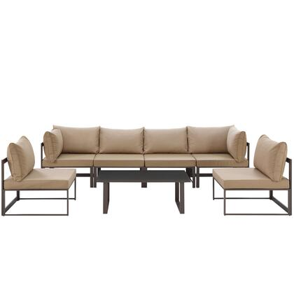 Modway Fortuna Collection EEI-1729- 7-Piece Outdoor Patio Sectional Sofa Set with 2 Corner Sections, 4 Center Sections and Coffee Table in